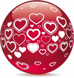 sphere with heart shape symbols vector image