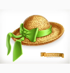Straw hat 3d icon vector