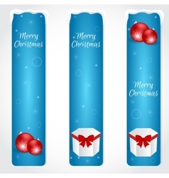 Three blue christmas vertical banner with red vector