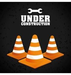 Under construction cone design vector