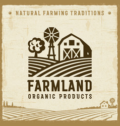 vintage farmland label vector image