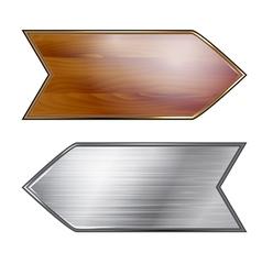 Wooden and metal arrows vector image