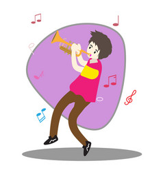 Young boy playing trumpet happy love music vector