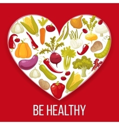 Healthy life Cartoon style heart with healthy vector image