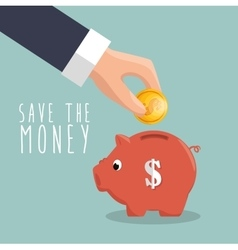 hand put coin piggy save the money icon vector image