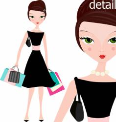 elegant woman with shopping bags vector image