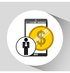 Business man smartphone money currency icon vector