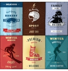 Nordic skiing posters set vector