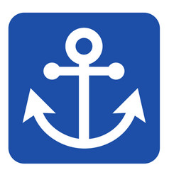 Blue white information sign - anchor icon vector