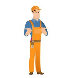 Caucasian confused builder shrugging shoulders vector