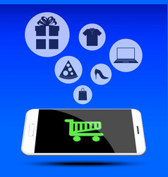 Shopping on mobile phone vector