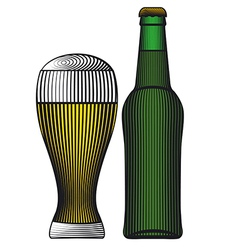 Beer bottle color vector