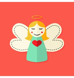 Christmas angel flat icon vector