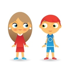 Girl and boy cartoon character children icons vector