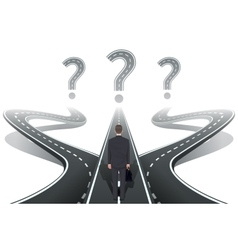 Businessman in front of question with roads vector