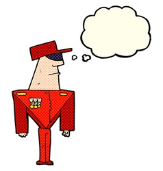 Cartoon guard with thought bubble vector