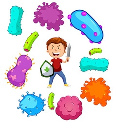 Boy with weapon fighting germs vector