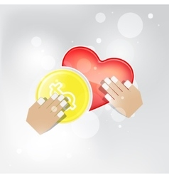 Abstract concept in giving money love vector image