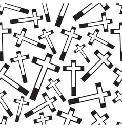 Black and white religion cross seamless pattern vector