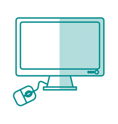 Blue silhouette shading desk computer tech device vector