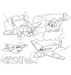 cartoon coloring helicopters and planes with faces vector image vector image