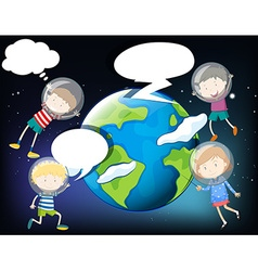 Children floating in the space around the earth vector