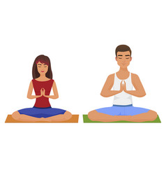 couple yoga man and woman vector image vector image