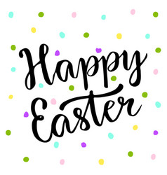 Cute happy easter text on colors dots blackboard vector