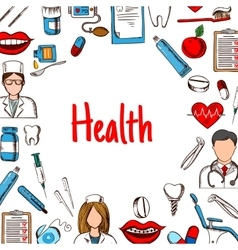 Dentistry and healthcare banner sketch style vector