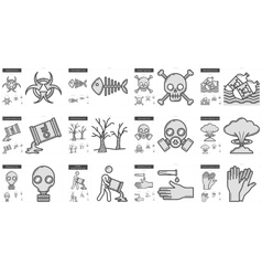 Ecology biohazard line icon set vector