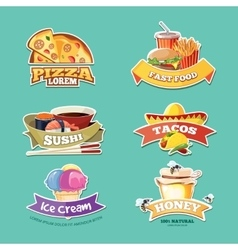 Emblem set with food vector