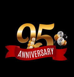Golden 95 years anniversary template with red vector