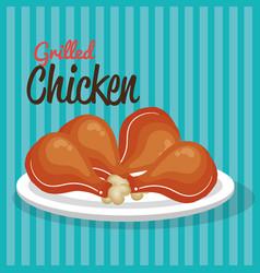Grilled chicken design vector