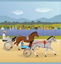 Harness racing flat composition vector