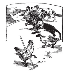 Hen raking barnyard with animals watching vintage vector