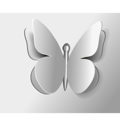Insect butterfly one outline isolated gray vector