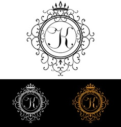 Letter k luxury logo template flourishes vector