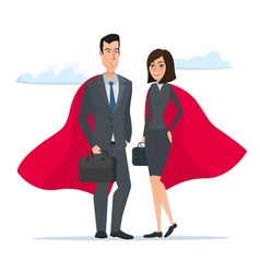 Man and woman business superheroes cartoon super vector