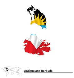 Map of antigua and barbuda with flag vector