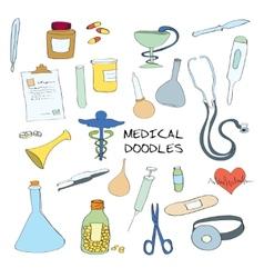 Medical symbols emblems doodle set vector image vector image