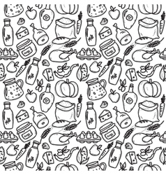 Organic food doodle style seamless pattern vector