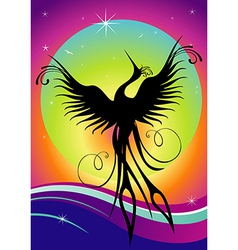 Phoenix bird silhouette re-birth vector image