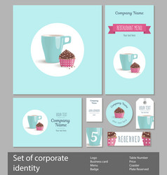 set of corporate style restaurant or confectionery vector image vector image