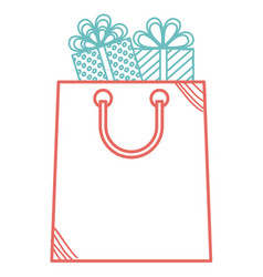 shopping bag with gifts vector image vector image