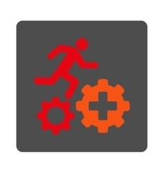 Treatment process flat button vector