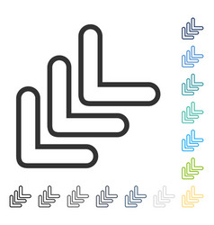 Triple pointer left down icon vector