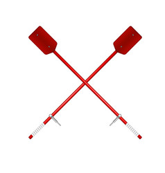 two crossed old oars in red design vector image vector image