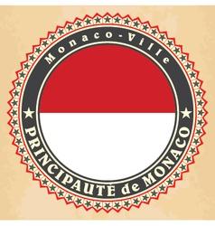 Vintage label cards of monaco flag vector