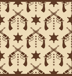 Western seamless pattern with colts and sheriff vector