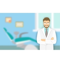 Young man dentist at the dental office vector